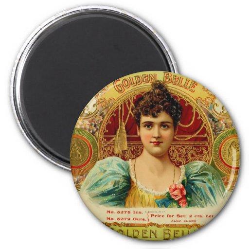 Antique Cigar Box Label  GOLDEN BELLE  (L5) 2 Inch Round Magnet