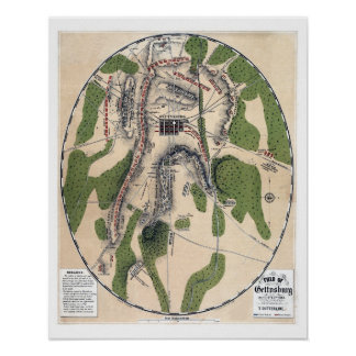 Antique civil war Field of Gettysburg map Poster