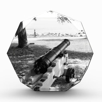 Antique Civil War Military Cannon Black and White Acrylic Award