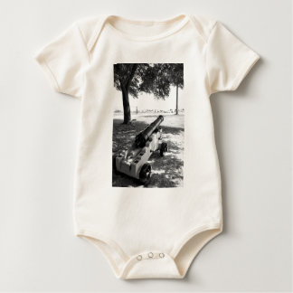 Antique Civil War Military Cannon Black and White Baby Bodysuit