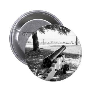 Antique Civil War Military Cannon Black and White Pinback Button