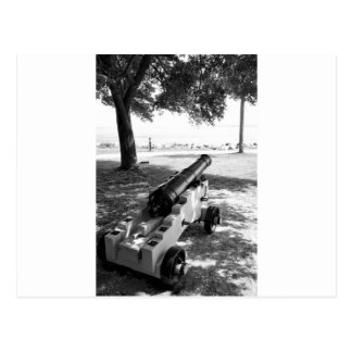 Antique Civil War Military Cannon Black and White Postcard