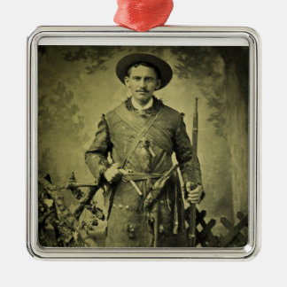 Antique Civil War Soldier Confederate Tintype Christmas Ornaments