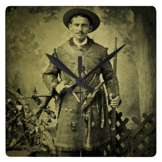 Antique Civil War Soldier Confederate Tintype Square Wall Clock