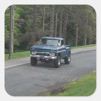 Antique classic Blue GMC Pickup Truck Square Sticker