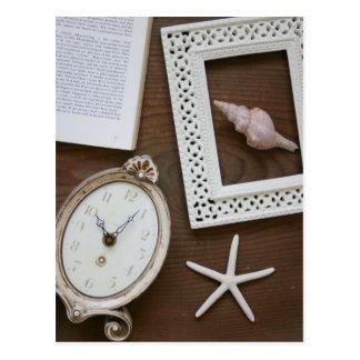 Antique clock frame shell book postcard
