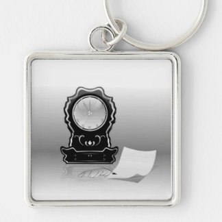 ANTIQUE CLOCK & QUILL ~ Silver-Colored SQUARE KEYCHAIN