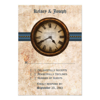 Antique Clock Response Card, Blue