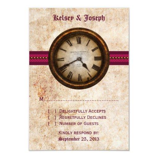Antique Clock Response Card, Fuchsia Card