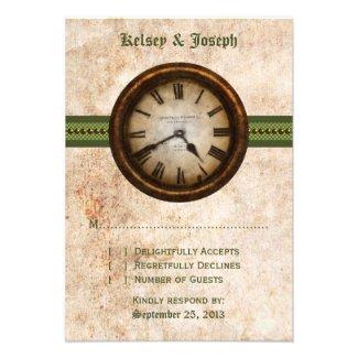 Antique Clock Response Card, Green