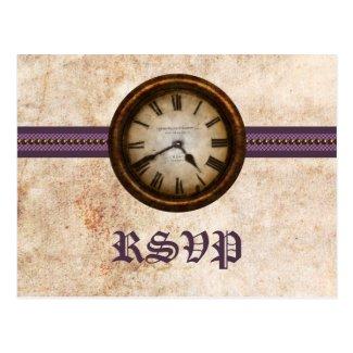 Antique Clock RSVP Postcard, Purple