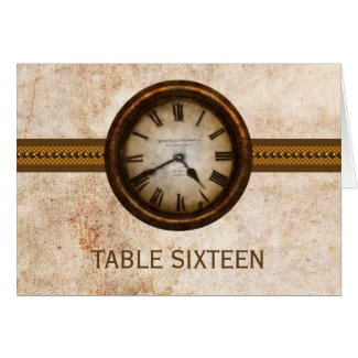 Antique Clock Table Number Card, Brown