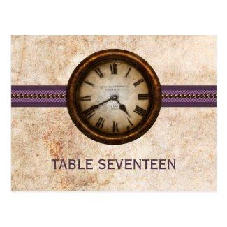 Antique Clock Table Number Postcard, Purple