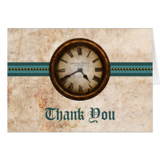 Antique Clock Thank You Card, Teal Card