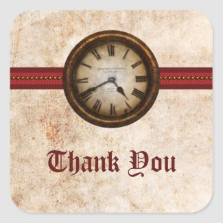 Antique Clock Thank You Stickers, Red