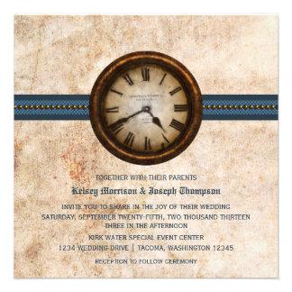 Antique Clock Wedding Invitation, Blue