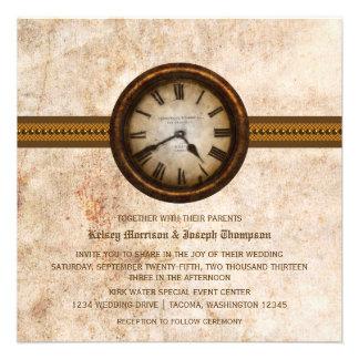 Antique Clock Wedding Invitation, Brown