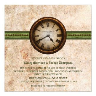 Antique Clock Wedding Invitation, Green