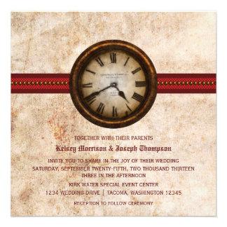 Antique Clock Wedding Invitation, Red