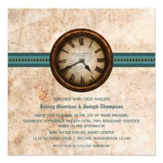 Antique Clock Wedding Invitation, Teal
