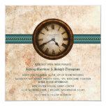 Antique Clock Wedding Invitation, Teal Card