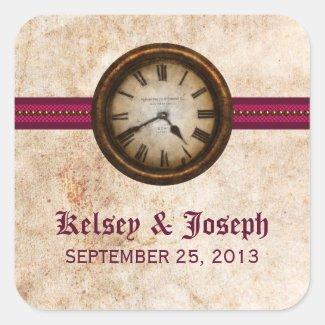Antique Clock Wedding Stickers, Fuchsia