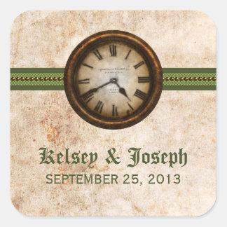 Antique Clock Wedding Stickers, Green Square Sticker