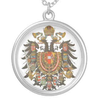 antique coats of arms medal silver plated necklace