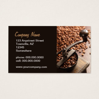 antique coffee grinder business card