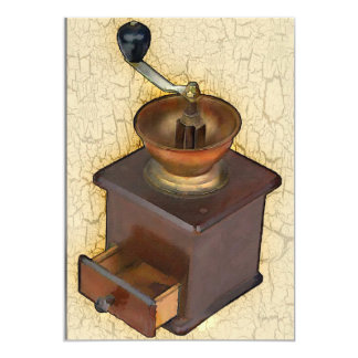 Antique Coffee Mill on  Crackle Background Card