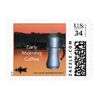 Antique coffee pot & fishing stamp- customize postage