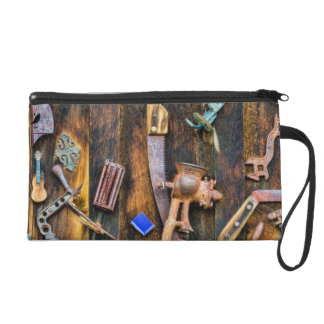 Antique collection on wall wristlet purse