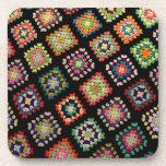 Antique Colorful Granny Squares Classic Pattern Beverage Coaster