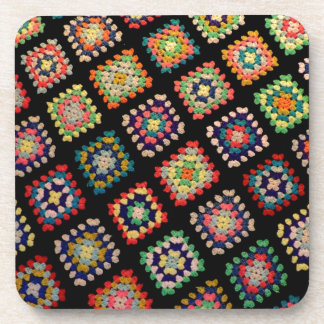 Antique Colorful Granny Squares Classic Pattern Beverage Coaster