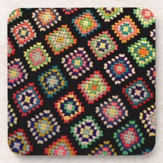 Antique Colorful Granny Squares Classic Pattern Coaster