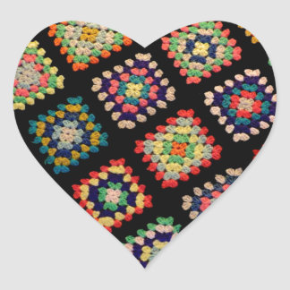 Antique Colorful Granny Squares Classic Pattern Heart Sticker