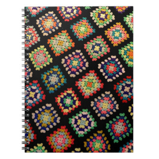 Antique Colorful Granny Squares Classic Pattern Spiral Note Book