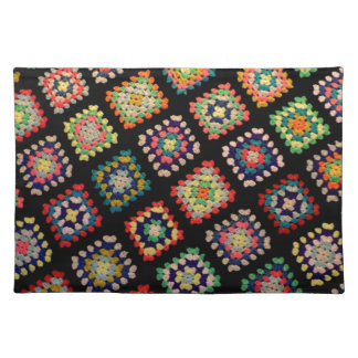 Antique Colorful Granny Squares Classic Pattern Placemat