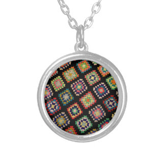 Antique Colorful Granny Squares Classic Pattern Round Pendant Necklace