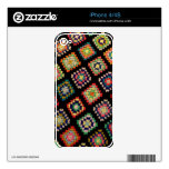 Antique Colorful Granny Squares Classic Pattern Skin For iPhone 4