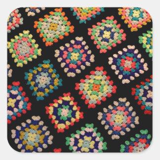 Antique Colorful Granny Squares Classic Pattern Square Sticker