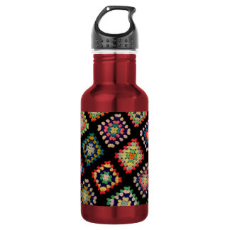 Antique Colorful Granny Squares Classic Pattern Stainless Steel Water Bottle
