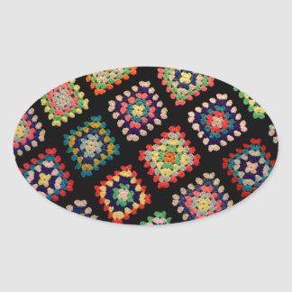 Antique Colorful Granny Squares Classic Pattern Oval Sticker