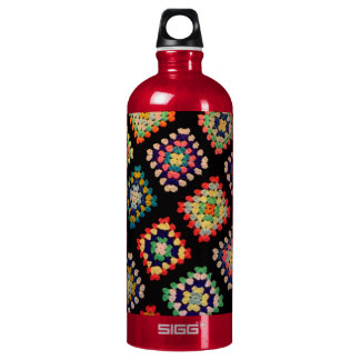 Antique Colorful Granny Squares Classic Pattern Water Bottle