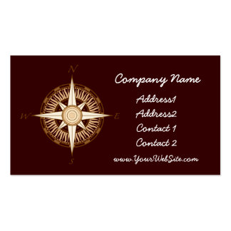 Antique Compass Chocolate Brown Business Card