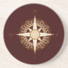 Antique Compass Chocolate Brown Coaster