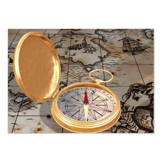 Antique Compass On A Map Invitations