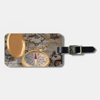 Antique Compass On A Map Luggage Tags
