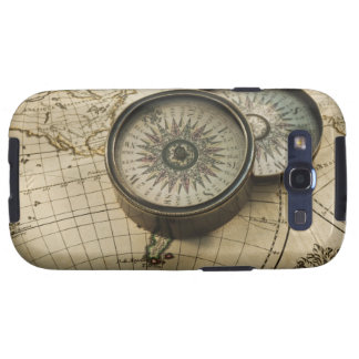 Antique compass on map galaxy s3 case