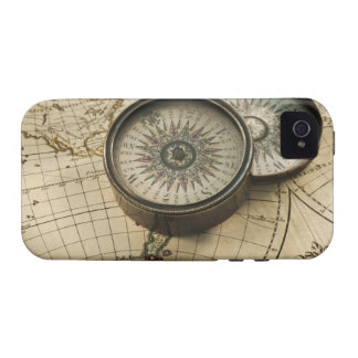 Antique compass on map iPhone 4 cover